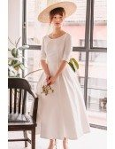 Vintage Tea Length Flare Simple Wedding Dress Satin with Half Sleeves