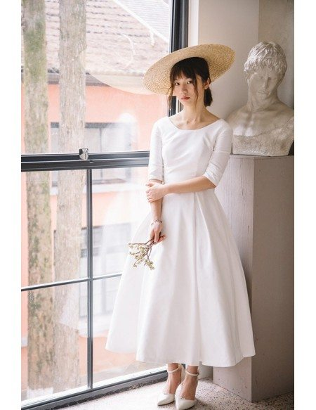 Vintage Tea Length Flare Simple Wedding Dress Satin With Half Sleeves E8950 Gemgrace