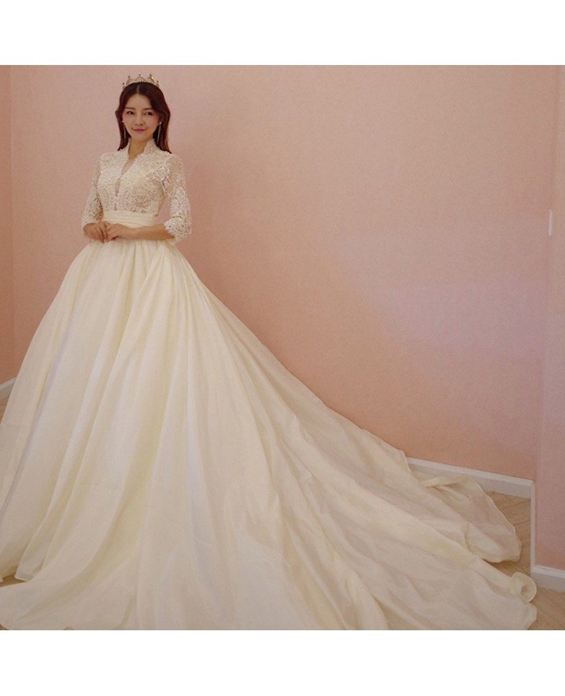 Princess Style Wedding Gowns: Unique Lace Empire 3/4 Lace Sleeve Ballgown Wedding Dress