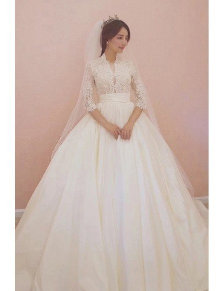 Unique Lace Empire 3/4 Lace Sleeve Ballgown Wedding Dress Princess Style