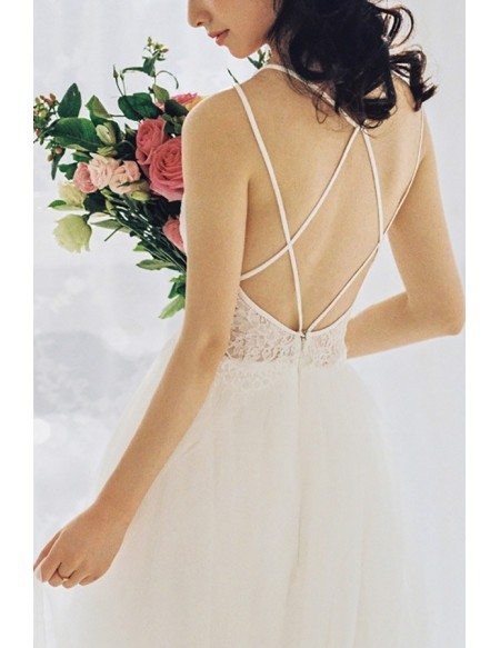 Simple Boho Cross Strap Backless Beach Wedding Dress Low Back For Summer