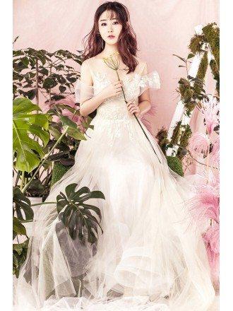 Unique Fairy Tulle Lace Cold Shoulder Beach Wedding Dress with Illusion Neckline