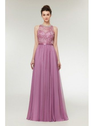 Flowing Chiffon Lilac Long Cute Prom Dress with Beaded Neckline