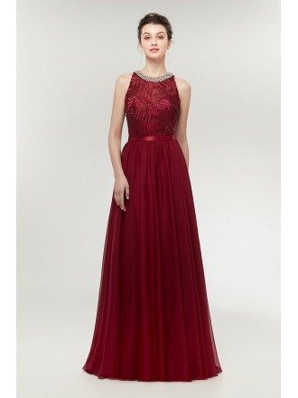 Burgundy Long Chiffon Prom Dress Flowing Straless with Beaded Neck