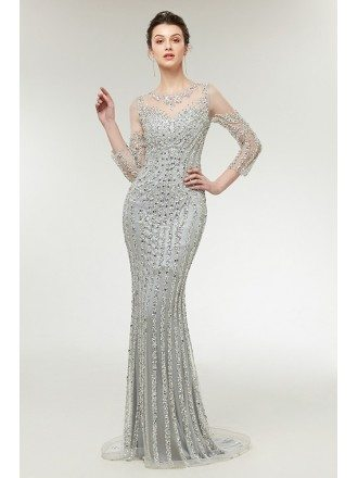 Sparkly Sexy Mermaid Silver Prom Dress with 3/4 Sleeves