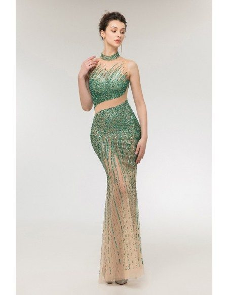 Strapless Sexy Green Fitted Prom Dress with Sparkly Beading