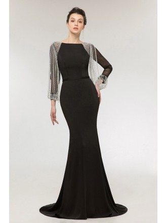 Gothic Black Long Mermaid Evening Dress with Long Beading Sleeves