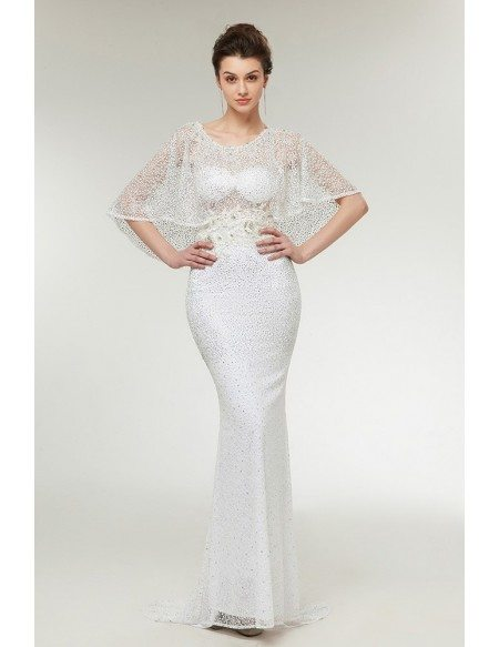 Unique Lace Mermaid Beaded Prom Dress Long Ivory with Cape