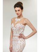 Unique Sequin White Mermaid Prom Dress Long For Curvy Girls