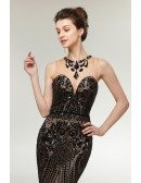Shining Sexy Black Long Sequin Fitted Prom Dress Stylish Mermaid