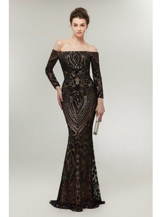 Sexy Black Long Sequin Tight Prom Dress Off The Shoulder Sleeves