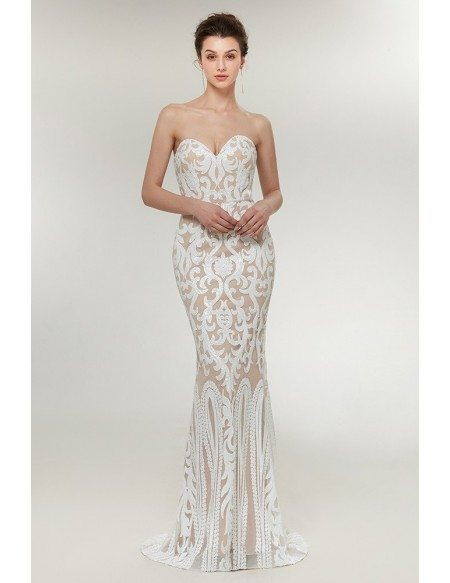 Strapless White Fitted Mermaid Formal Dress Sexy For Women
