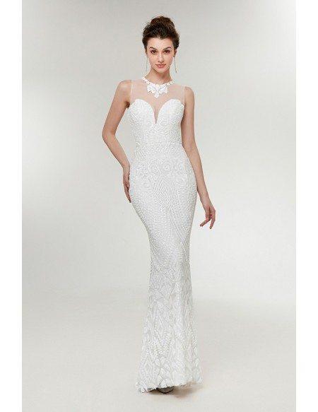 Sleeveless White/ivory Slim Mermaid Prom Dress For Petite Women