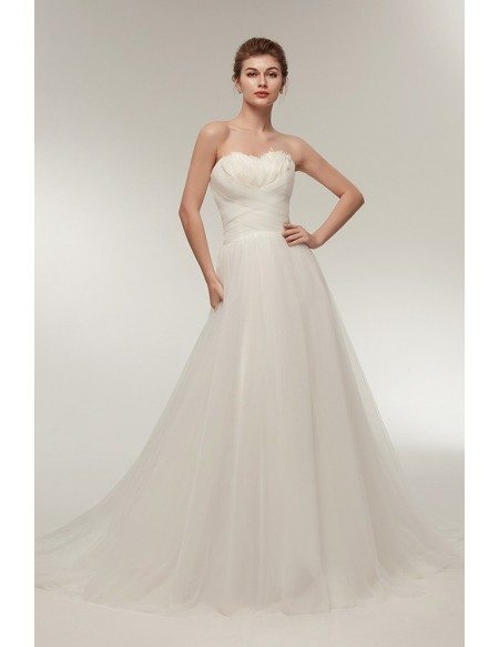 Elegant Long Tulle Feather Beach Wedding Dress Strapless with Train