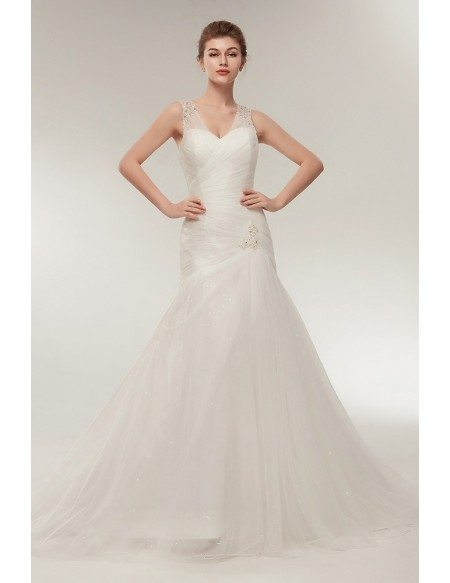 Fit And Flare Pleated Tulle Wedding Dress with Beading Straps