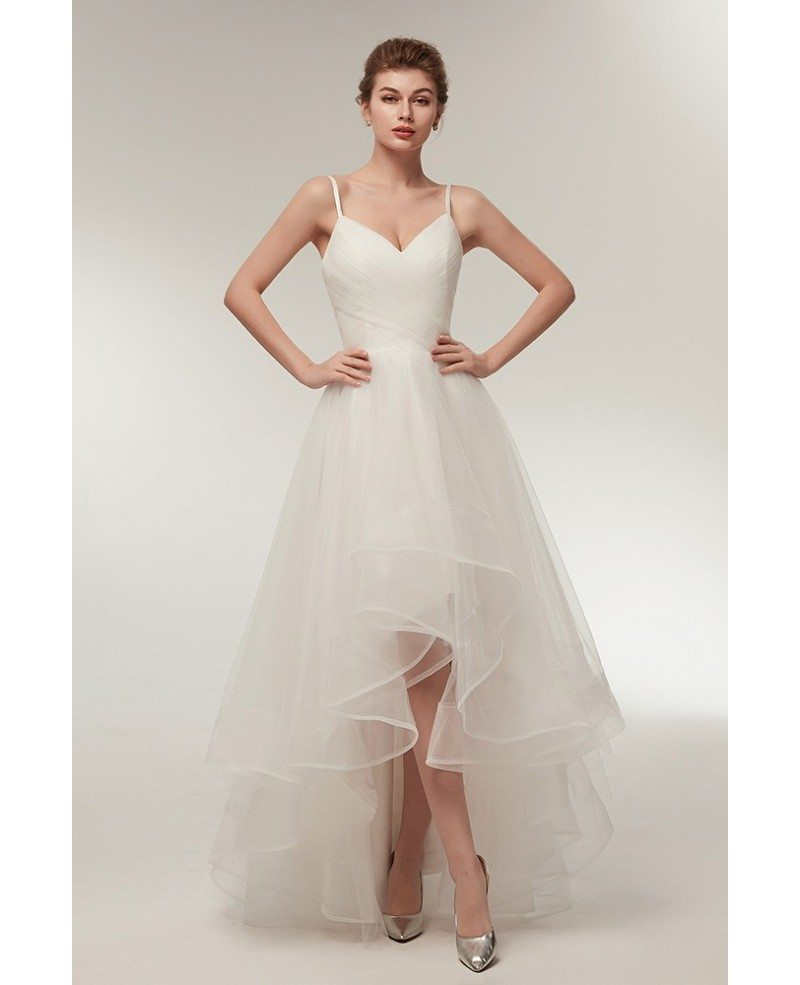 Simple High Low Tulle Beach Wedding Dress With Spaghatti Straps S633 Gemgrace Com