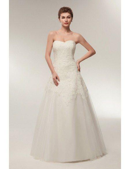 Strapless A Line Ivory Lace Bridal Dress For Destination Wedding
