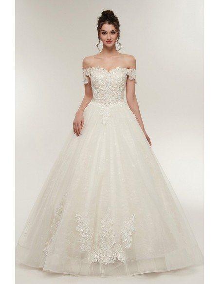 Unqiue Lace Princess Wedding Dress with Off The Shoulder Straps