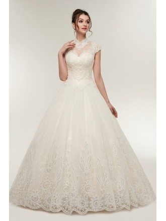Vintage Collar Ballroom Wedding Dress with Exquisite Beading Lace
