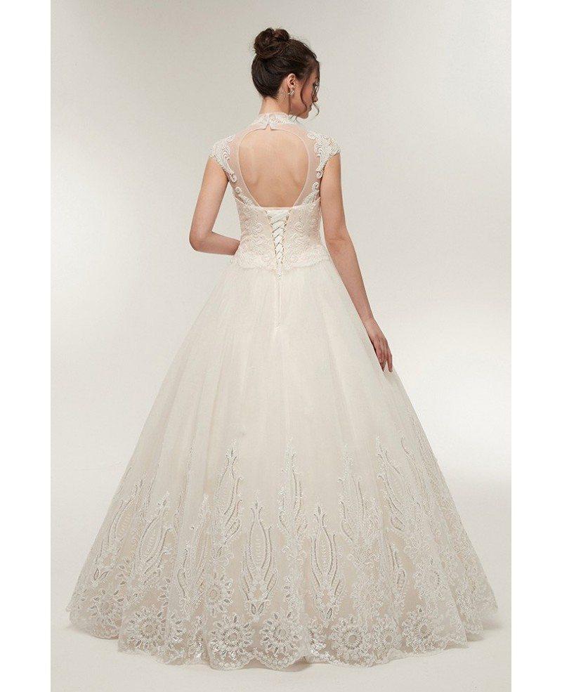 Ballroom Gown Wedding Dresses: Vintage Collar Ballroom Wedding Dress With Exquisite