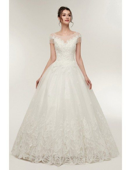 Princess Lace Corset Ball Gown Wedding Dress with Cap Sleeves