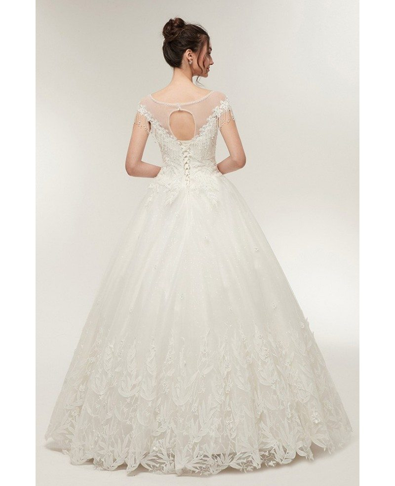 Princess Lace Corset Ball Gown Wedding Dress With Cap
