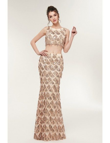 Gorgeous Sparkly Fringed Sequin Prom Dress In 2 Piece Mermaid Style