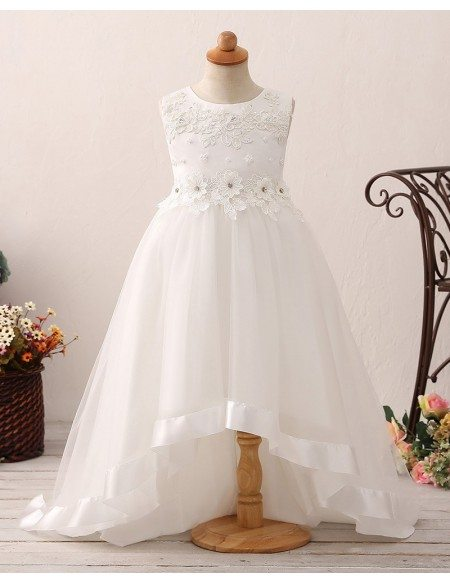Princess High Low Ivory Flower Girl Dress with Lace Beading Bodice