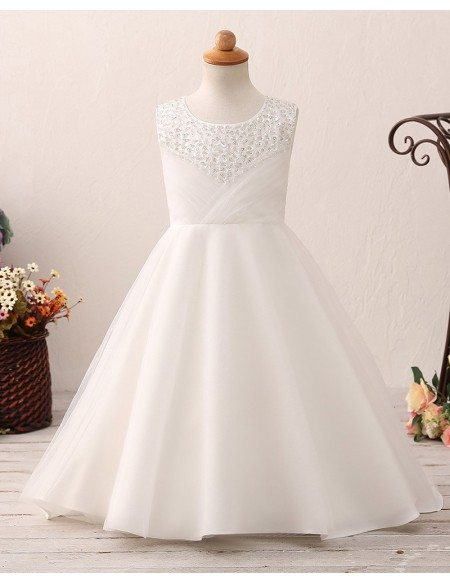 Pleated Ivory Floor Length Flower Girl Dress with Beading Neck