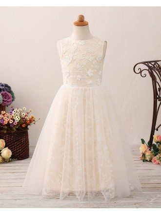 Beautiful Champagne Tulle Lace Flower Girl Dress with Hole Back