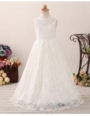 Long Simple Lace Flower Girl Dress with V Back For Beach Beading