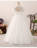 Modest Tulle Lace Ball Gown Flower Girl Dress with Short Sleeves