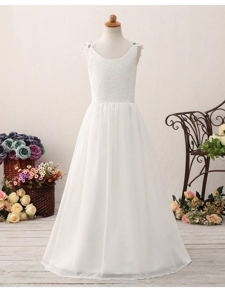 Elegant Chiffon Long Lace Flower Girl Dress For Teen Girls