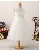 Princess Tulle Short Flower Girl Dress with Applique Lace