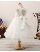 Vintage Lace Short Tulle Flower Girl Dress with Bow Sash