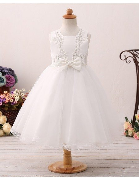 Beaded Lace Ivory Short Flower Girl Dress For Little Girls