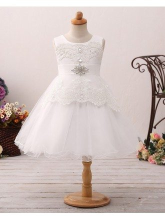 Vintage Short Tulle Lace Flower Girl Dress with Crystal Sash