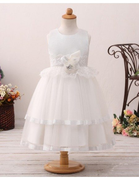 Ivory Layered Short Flower Girl Dress with Lace For Beach Wedding