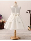 Princess Short Tulle Pleated Flower Girl Dress with Lace Hem