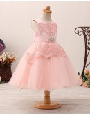Cute Pink Short Lace Tulle Flower Girl Dress For Crystal Beading