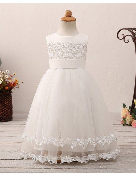 Elegant Layered White Flower Girl Dress with Lace Trim