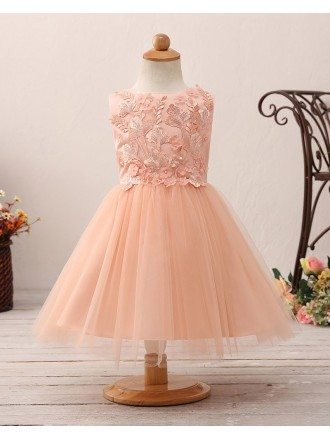 Coral Short Tulle Flower Girl Dress with Applique Bodice