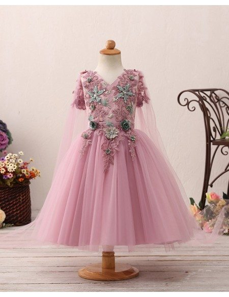 Fantastic Purple Fairytale Flower Girl Dress with Applique Floral