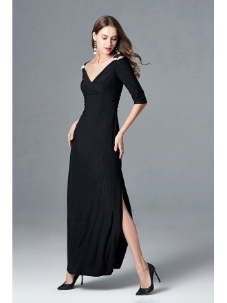 Elegant Black Long Slit V Neck Formal Dress With 1/2 Sleeves