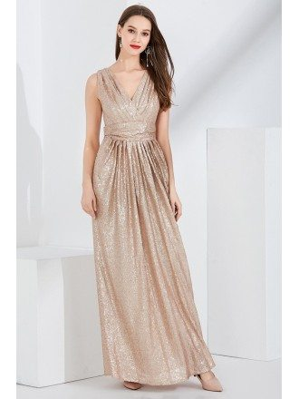 Sparkly Gold Sequin Pleated V Neck Evening Dress In Floor Length