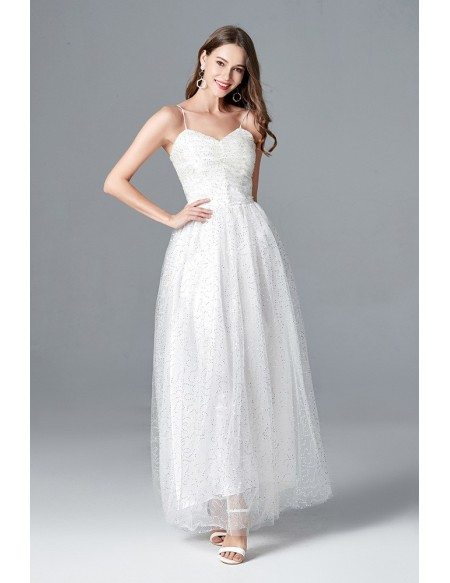 Sequin Tulle Long White Prom Dress With Spaghetti Straps