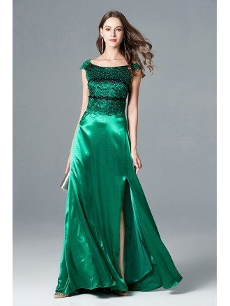 Cap Sleeve Split Long Green Evening Dress With Lace Beading Bodice