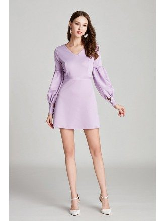 Simple Lilac Short Cotton Prom Dress With Long Bubble Sleeves