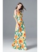 Off Shoulder Floral Print Long Yellow Prom Dress For Juniors