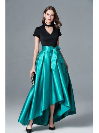 Black And Green Hi Low Formal Dress With Cap Sleeves